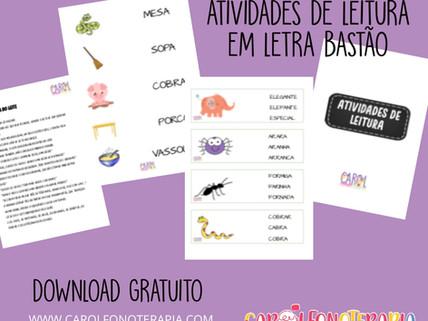 Atividades para Leitura em Letra Bastão