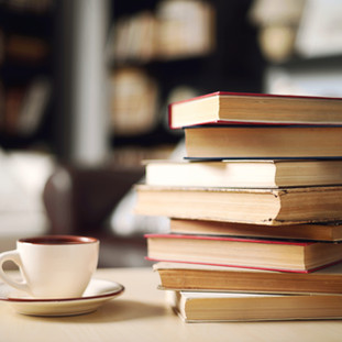 Stack of Books with Coffee