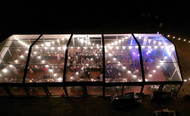 10 x 25m Clear roof Marquee with Festoon