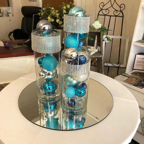 Cylinder vase trio silver and blue.2 - C