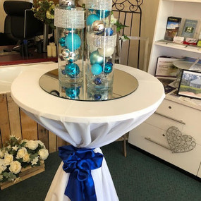 Cylinder vase trio silver and blue.3 - C