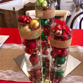 Cylinder vase trio Gold, red & green.2 -