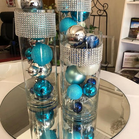 Cylinder vase trio silver and blue.1 - C