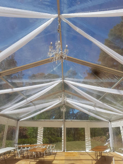 10 x 15m clear with organza strips.2