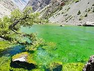 Maloe Allo lake in Fann mountains in Tajikistn