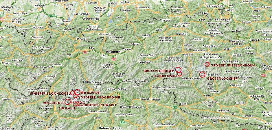 Top 10 mountains of Austria