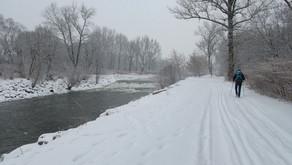 Mrazivý únorový víkend podél Olše po kotníky ve sněhu