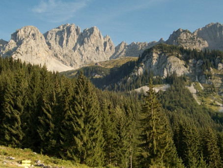 Ellmauer Halt, lezení cestou Leuchsweg až do tmy