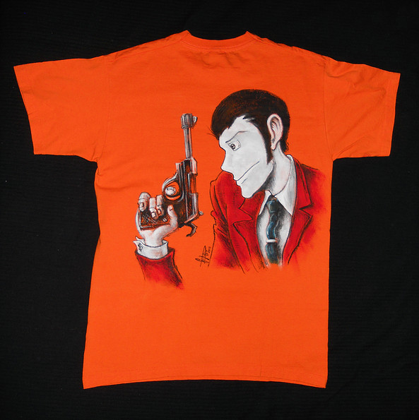 Lupin III T Shirt disegnata e dipinta a