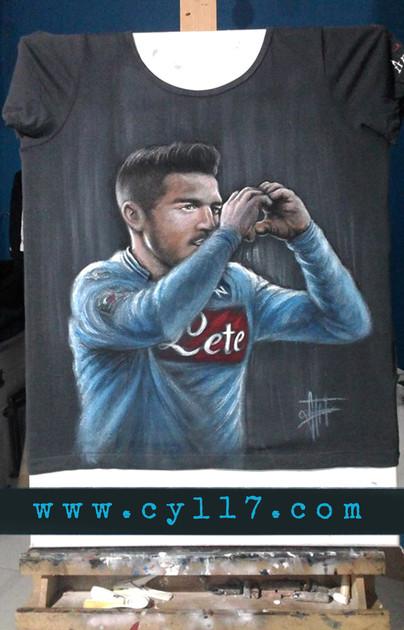 Dries Mertens, handpainted T Shirt