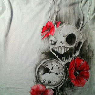Rabbit Skull , clock and red flowers