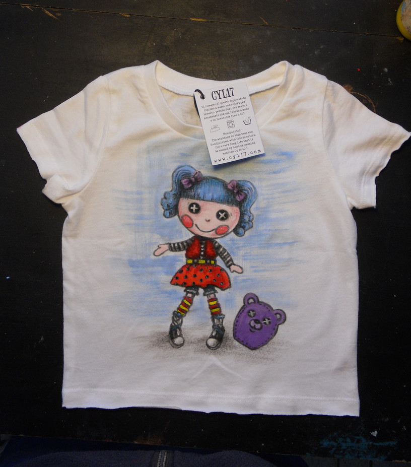 Baby T shirt Blue Puppet handpainted t s