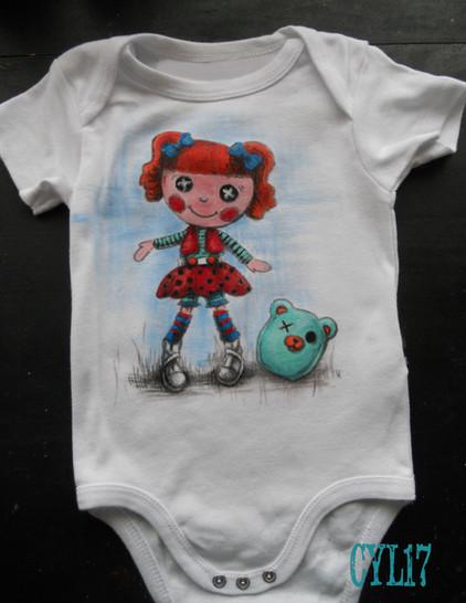 Baby Body Orange Puppet handpainted t sh
