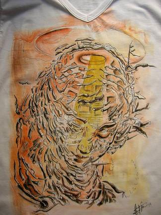T Shirt disegnata, dipinta a mano