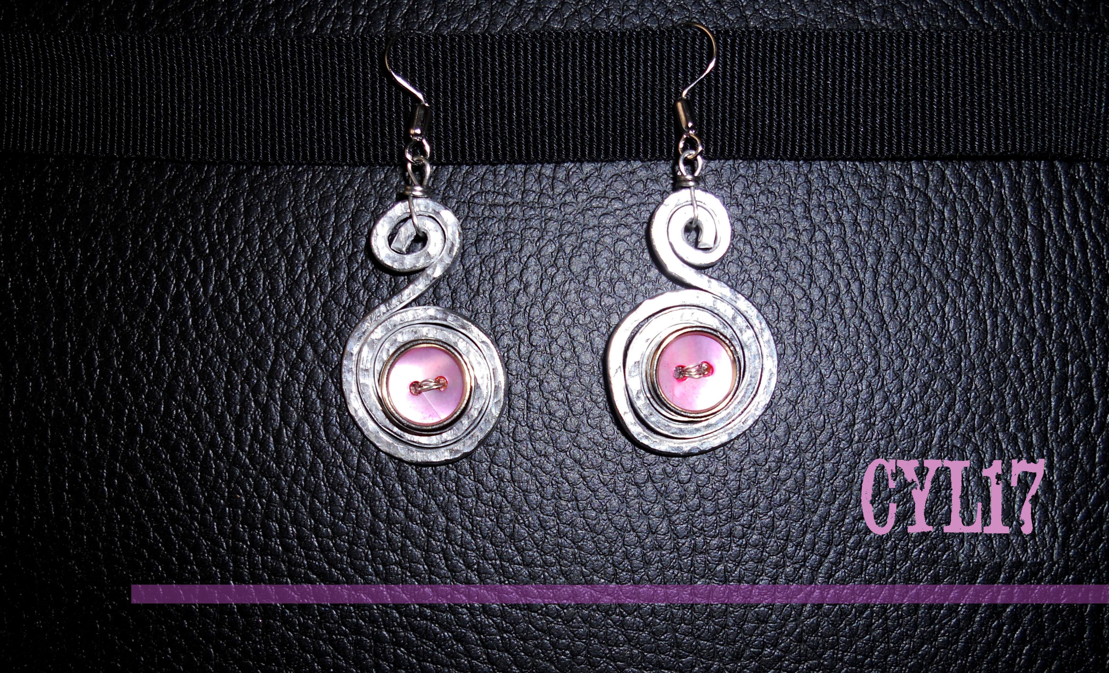 orecchini in alluminio con bottoni rosa vintage