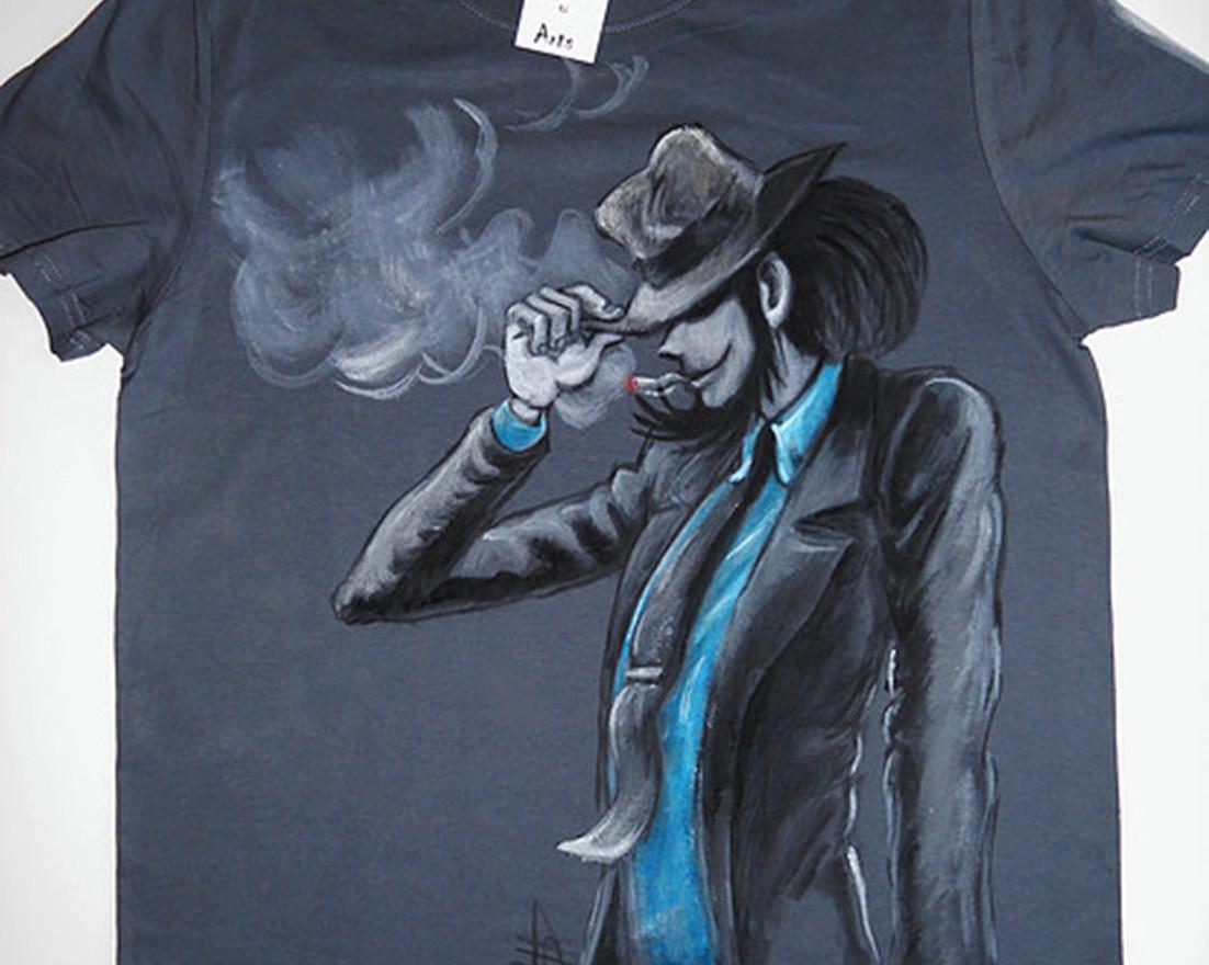 Jigen T Shirt disegnata e dipinta a mano