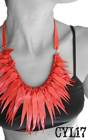 handmade necklace red leather with gunme