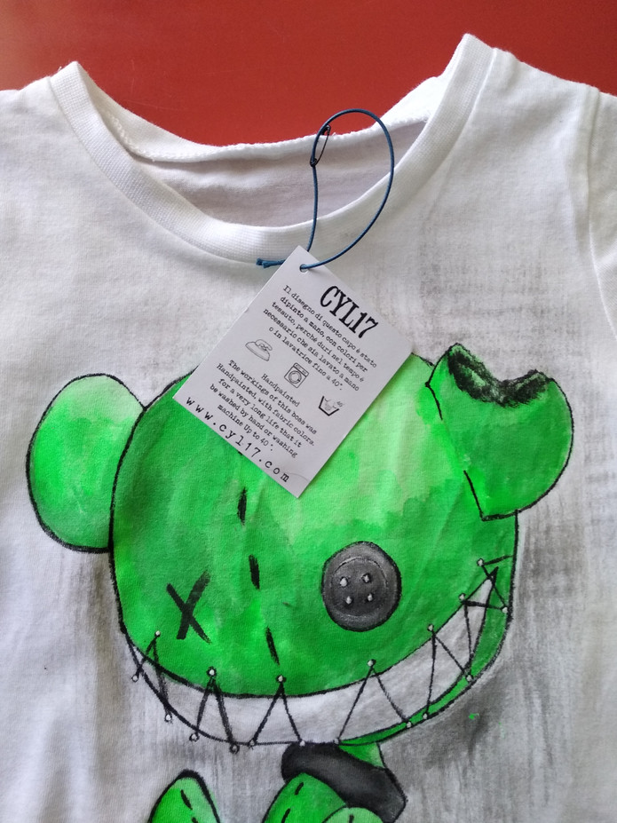 Detail of the neck of monster puppet green