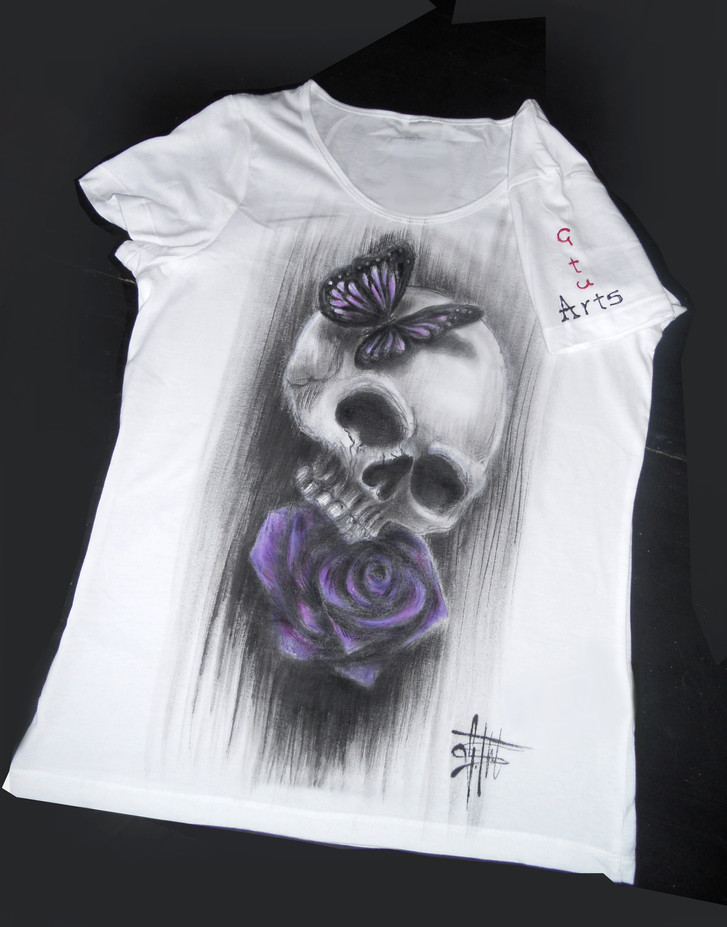 Skull and purple rose