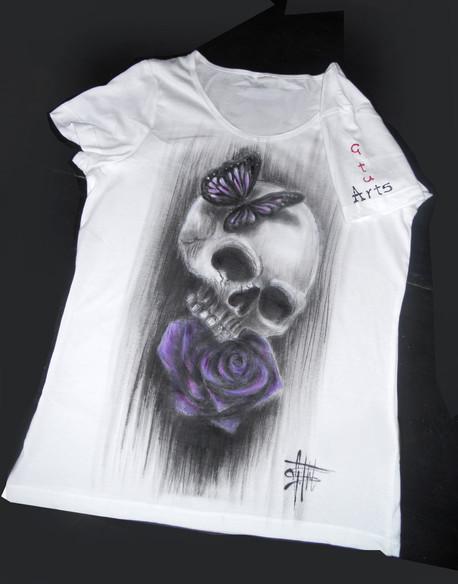 Skull and purple rose