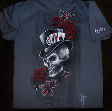 Poker and skull with red flower