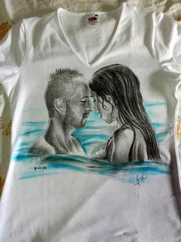 Mimmo T Shirt disegnata e dipinta a mano