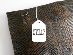 Python print leather bag clutch pochette