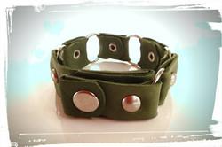 bracciale pelle verde