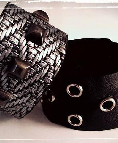 Bracciali in pelle riciclata fatti a mano, Handmade leather Bracelets