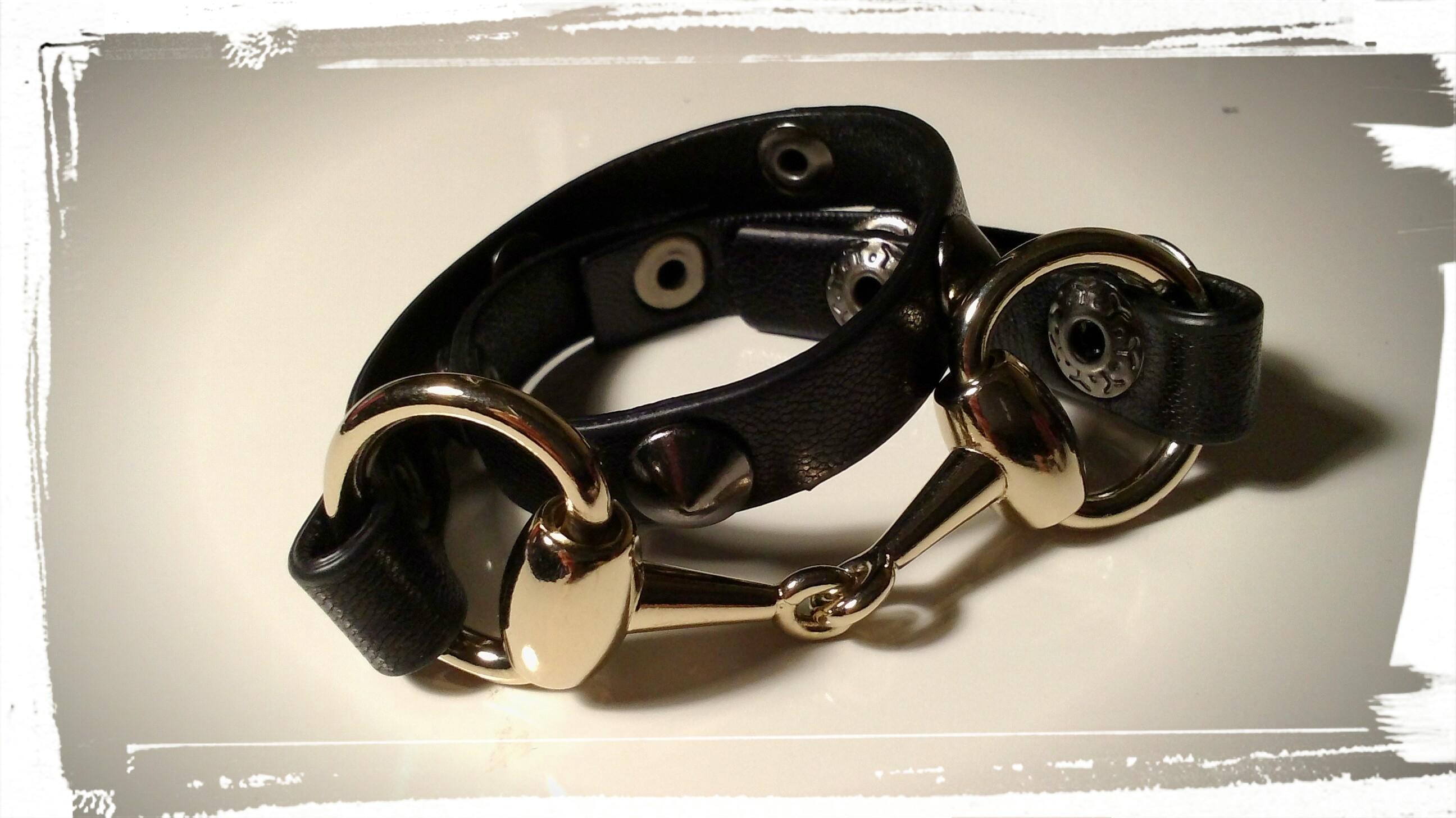 braccialetto doppio giro in pelle nera