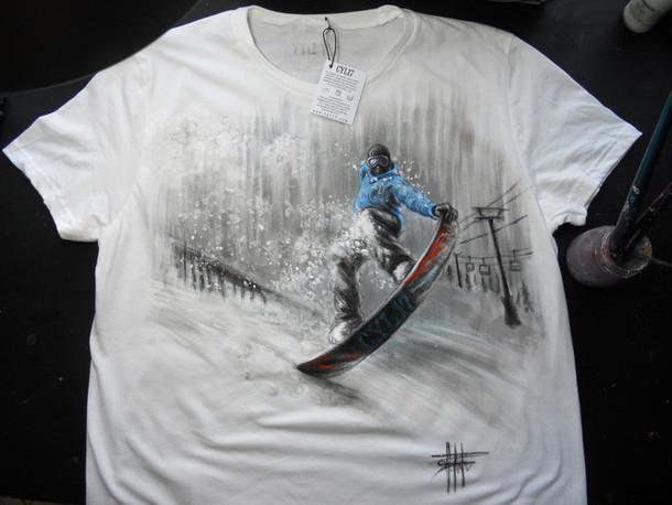 Snowboarder_Handpainted T Shirt