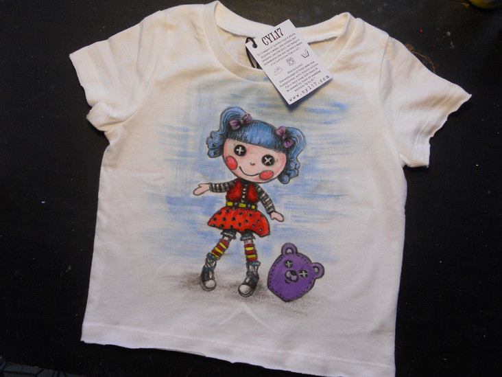 Baby T shirt Blue Puppet handpainted t s