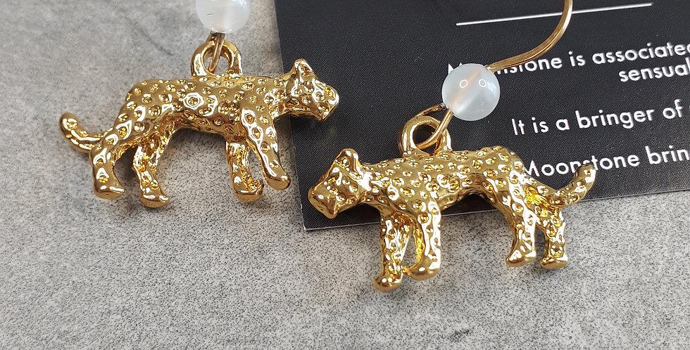 Leopard & Moonstone Earrings (maansteen oorbellen)