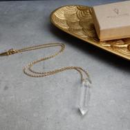 bergrkristal ketting gold-plated