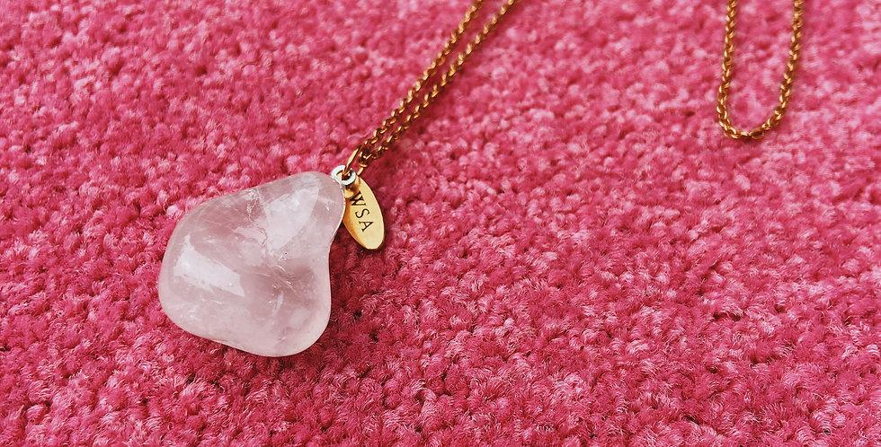 Rose quartz round necklace (rozenkwarts rond)