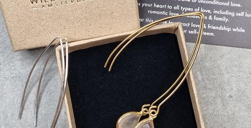 Rose Quartz pendant earring (Roze kwarts hanger oorbel)