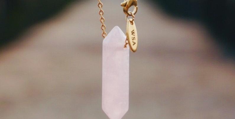Rose quartz minimalist necklace (rozenkwarts ketting)