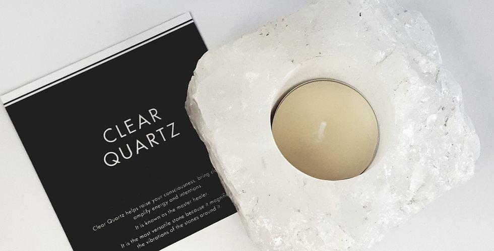 Clear quartz candle holder (bergkristal lichtje)