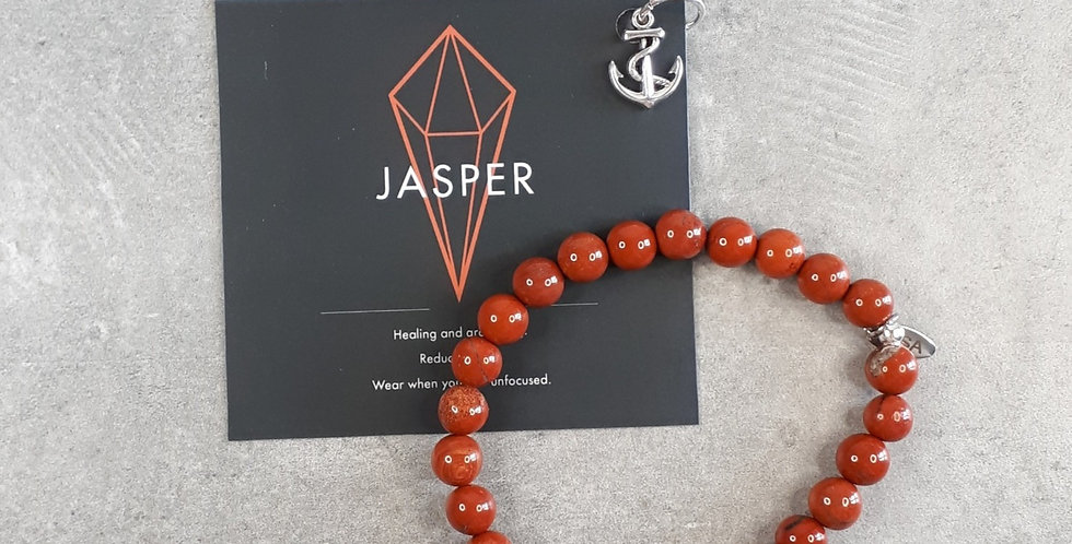 Red Jasper bracelet big beads (Rode jaspis armband grote kralen)