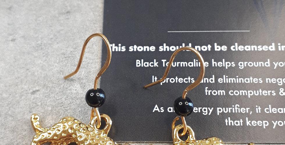 Leopard & Black Tourmaline Earrings (zwarte tourmaline oorbellen)
