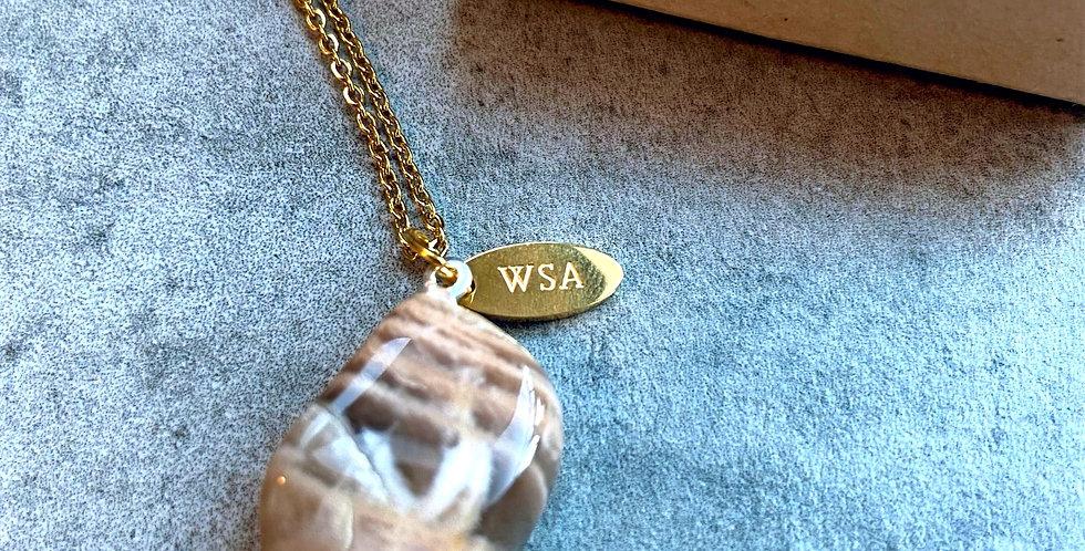 Moonstone round necklace (maansteen ronde ketting)