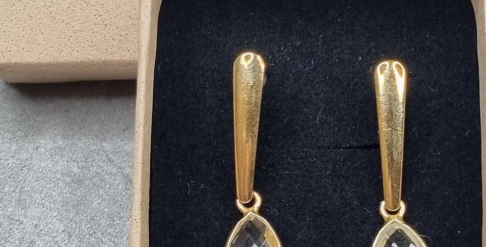 Clear Quartz pendant gold earring (Bergkristal hanger gouden oorbel)