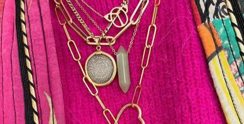 Jade minimalist necklace (jade ketting)