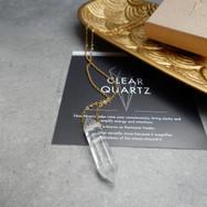 Bergkristal ketting goud