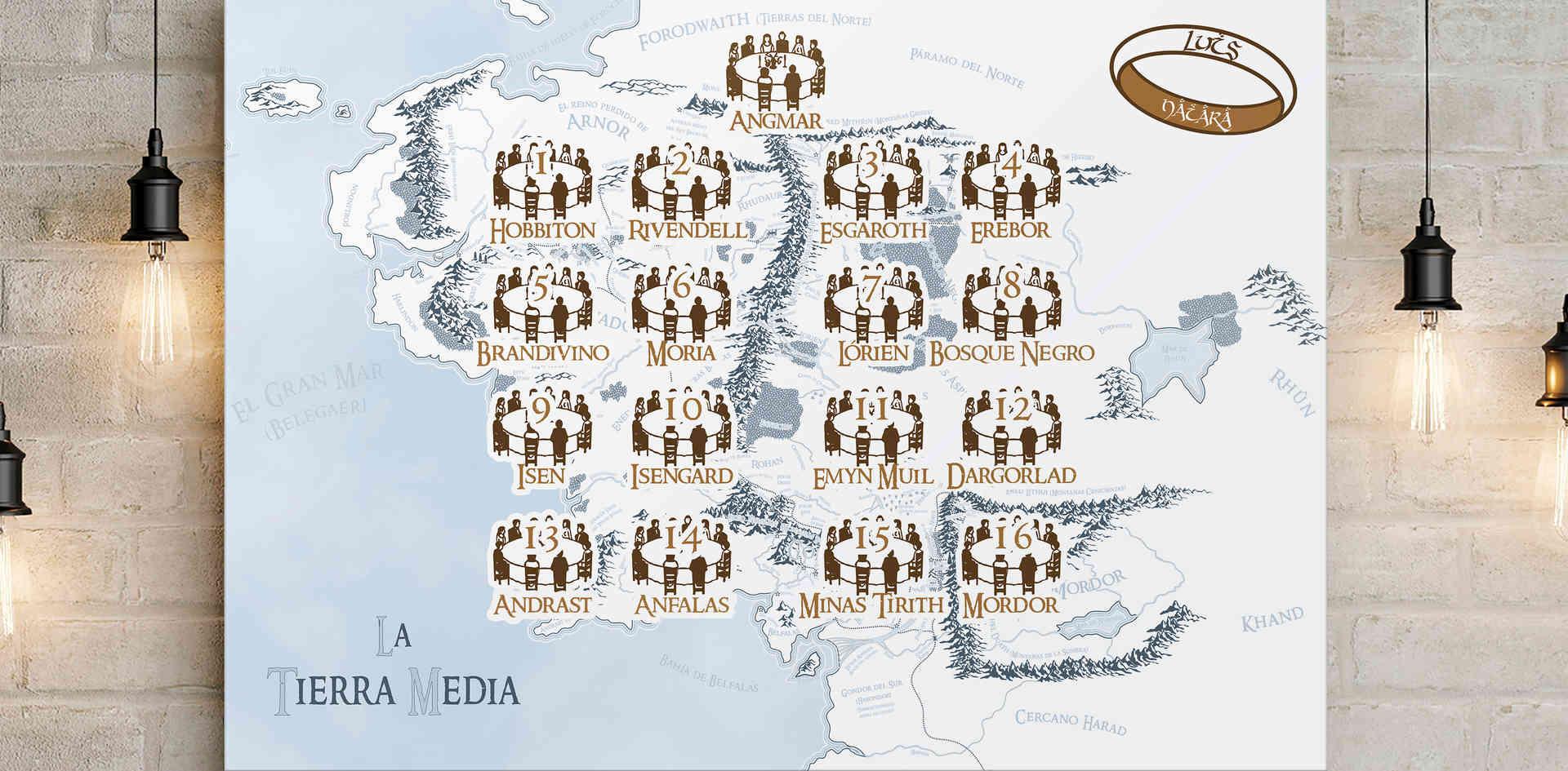 Mapa de mesas para boda