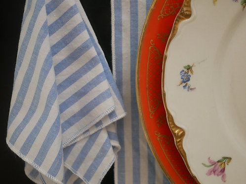 Blue & White Stripe Square Handkerchief / Napkin / Mini Bandana