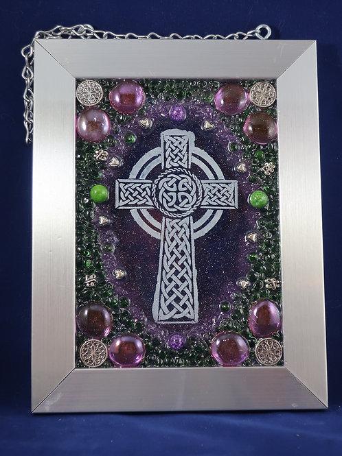 Celtic Cross Purple & Green 5x7