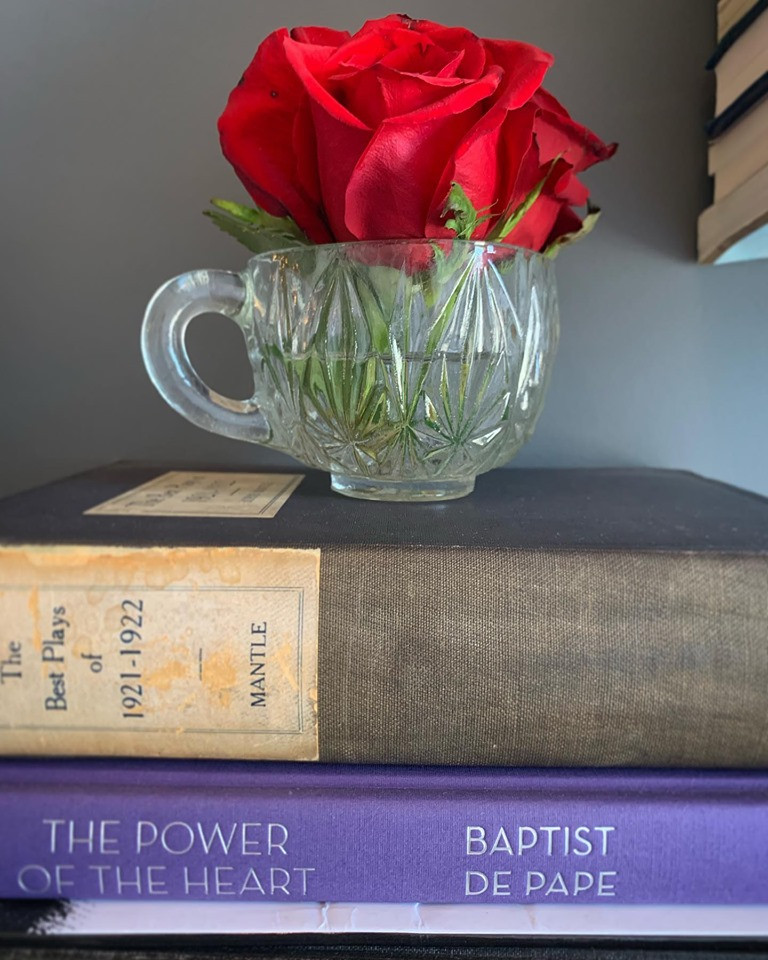 Red roses in a vintage glass cup sitting on stacked books from the library