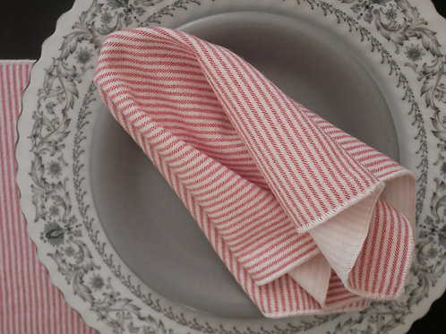 Red & White Railroad Stripe Square Handkerchief / Napkin / Mini Bandana