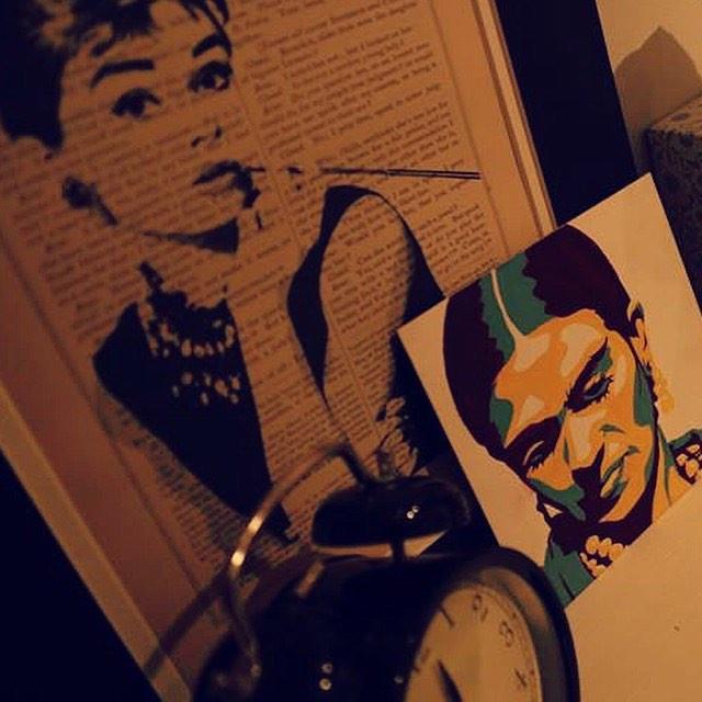 Artwork of images of Audrey Hepburn and Frida Kahlo